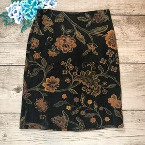 CAbi Chenille Dark Floral Tapestry A Line Skirt